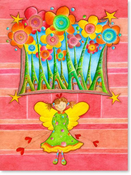 Aquarellbild Zauberstadt - Wandbild fürs Kinderzimmer