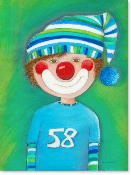 Pastellbild Clown Levi - Wandbilder fürs Kinderzimmer