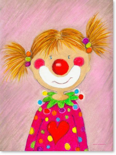 Pastellbild Clown Mädchen Pepina - Wandbilder fürs Kinderzimmer