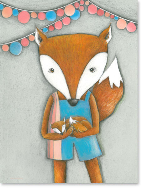 Pastellbild Frau Fuchs - Wandbild fürs Kinderzimmer
