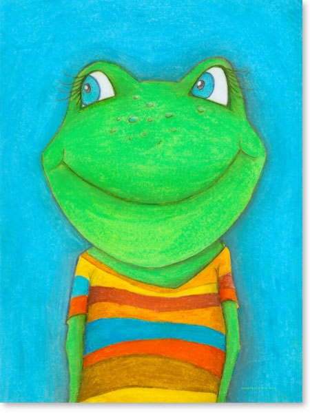Pastellbild Frosch Karl Heinz - Wandbilder fürs Kinderzimmer