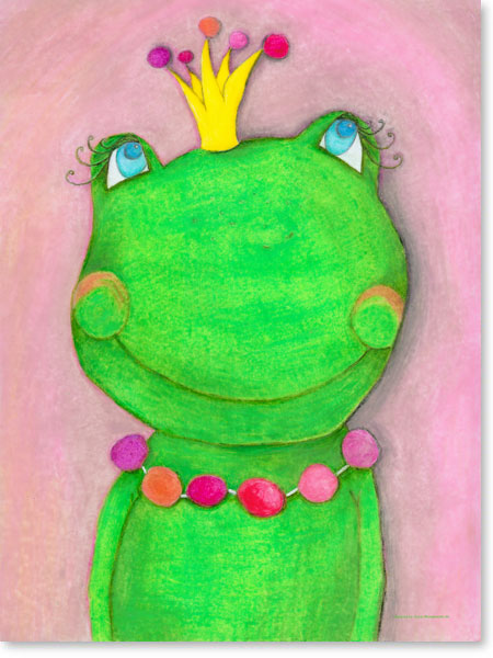 Pastellbild Froschkönigin - Leinwandbild fürs Kinderzimmer