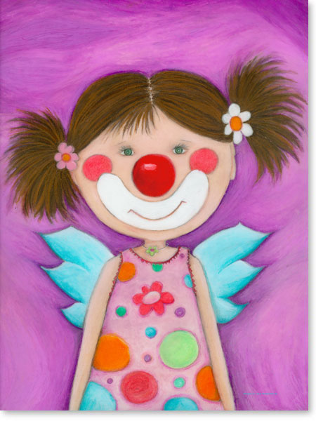 Pastellbild Schutzengel Rosa Lila - Wandbilder fürs Kinderzimmer
