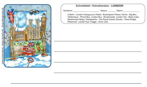 London Arbeitsblatt Schreibblatt Schreibanlass
