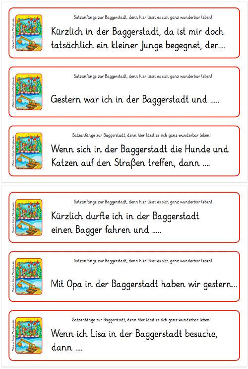 Satzanfänge - Baggerstadt