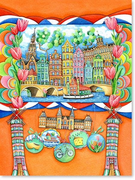 Wimmelbild / Suchbild Amsterdam für Kinder - Serie: Aquarellbilder Motive fürs Kinderzimmer