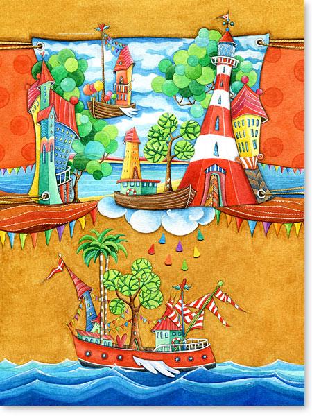 Die Arche im Traumland - Serie: Aquarellbilder Motive fürs Kinderzimmer