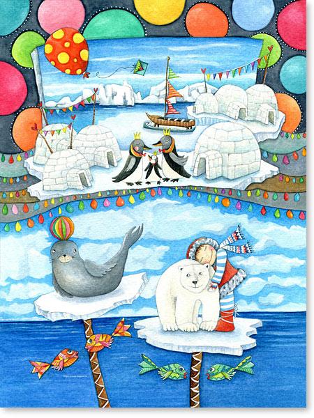 Eisbär und Seehund im Traumland - Serie: Aquarellbilder Motive fürs Kinderzimmer