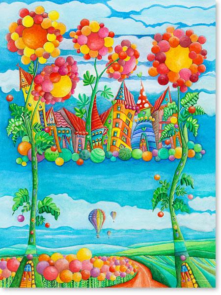 Der kleine Heißluftballon und seine Freunde zu Besuch in Himmel Stadt im Land der Riesen und Zwerge - Serie: Aquarellbilder fröhliche Motive fürs Kinderzimmer