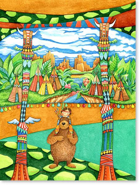 Der kleine Indianer und Häuptling brauner Bär - Serie: Aquarellbilder Motive fürs Kinderzimmer