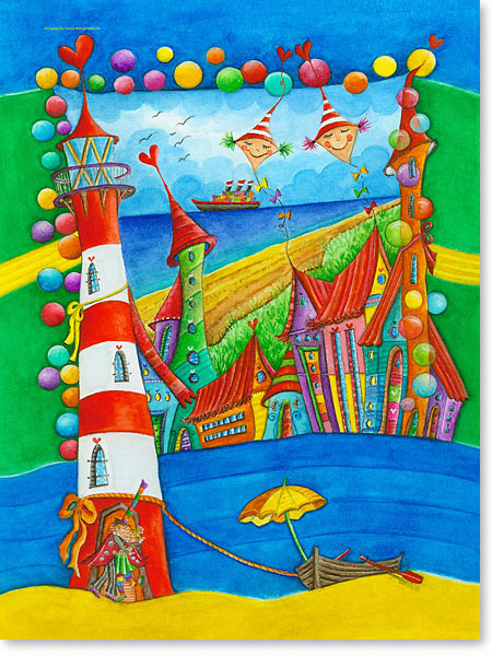 2 Drachen und der schiefe Leuchtturm - Serie: Aquarellbilder Motive fürs Kinderzimmer