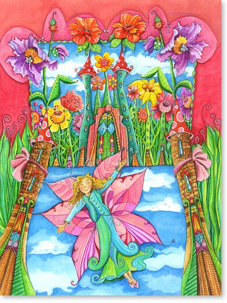 Die kleine Rosa Blumenfee Lisa lebt in einem traumhaften Märchenschloss: Aquarellbilder fröhliche Motive fürs Kinderzimmer