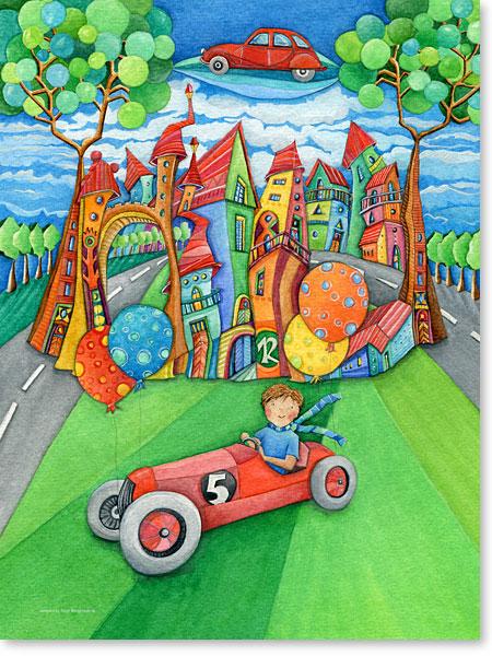 ...fliegende Autos im Land der Luftballons - Serie: Aquarellbilder Motive fürs Kinderzimmer
