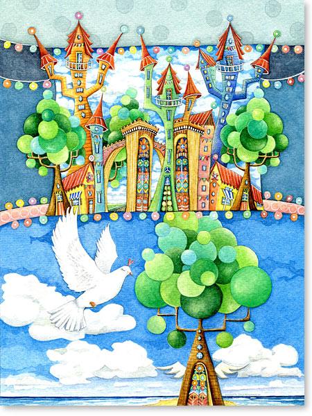 Die weiße Taube und das Märchenschloss - Serie: Aquarellbilder Motive fürs Kinderzimmer