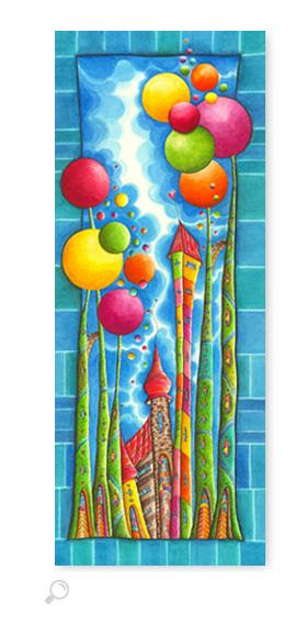 Bubble Gum Blau - Serie: Aquarellbilder Motive fürs Kinderzimmer