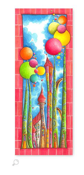 Bubble Gum Rot - Serie: Aquarellbilder Motive fürs Kinderzimmer