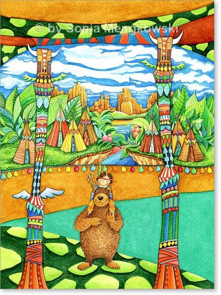 Aquarell Indianer Land - Wandbild fürs Kinderzimmer
