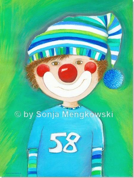 Clown Junge Levi - Serie: Pastellbilder Motive fürs Kinderzimmer