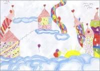 Maren 10 Jahre malt Blumenhausen