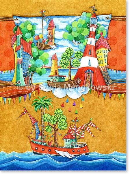 Aquarell Seemannsgarn - Leinwandbild fürs Kinderzimmer
