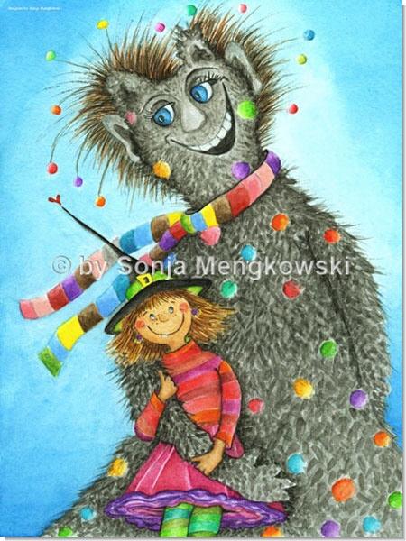 Hexe-und Zottel - Serie: Pastellbilder Motive fürs Kinderzimmer