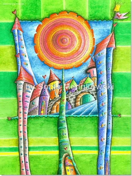 Traum-Stadt - Serie: Aquarellbilder fröhliche Motive fürs Kinderzimmer