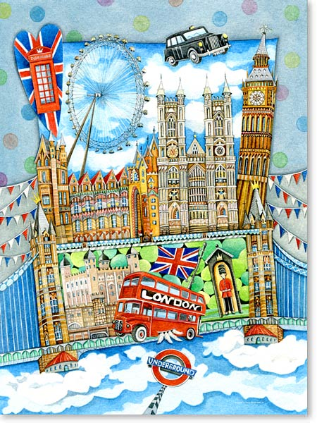 Aquarell London - Wandbild fürs Kinderzimmer