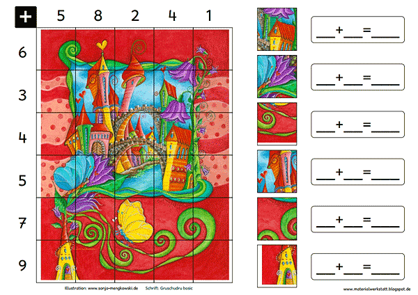 Grundschule Rechenspiele Zahlenraum 20 Schmetterlinge