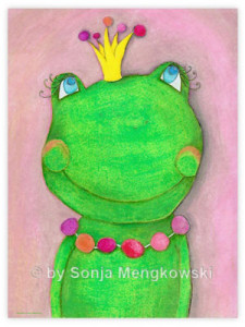 Pastellbilder Serie: Fröhliche Freunde die Froschkönigin