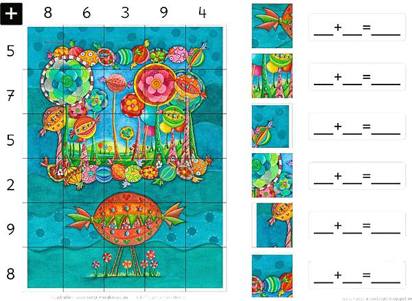 Grundschule Rechnen Rechenpuzzle Addition Zahlenraum 20