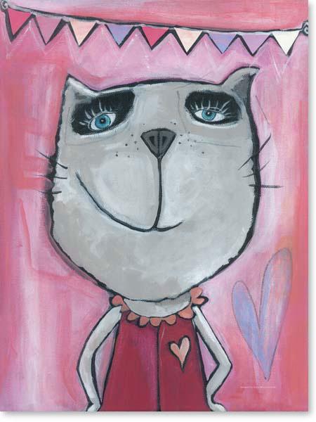 Acrylbild Katze Rosa - Leinwandbild fürs Kinderzimmer