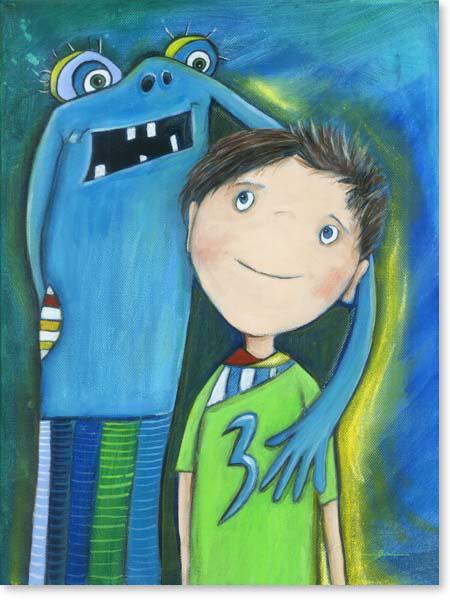 Acrylbild Matti und das Schwimmbadmonster- Leinwanddruck fürs Kinderzimmer