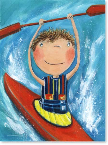 Acrylbild Paddler Pauli - Leinwanddruck fürs Kinderzimmer