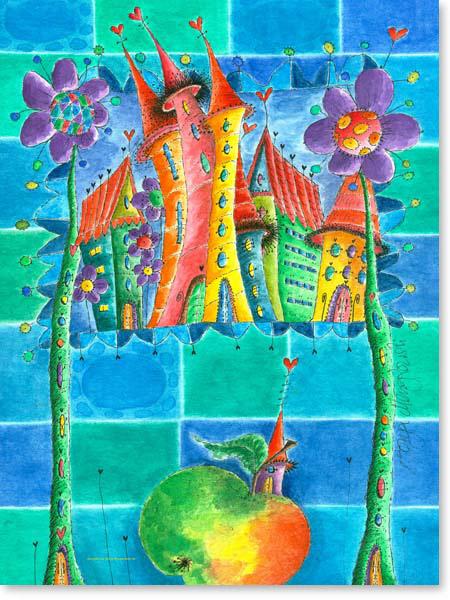 Aquarell Apfel Hausen - Leinwandbild Kinderzimmer