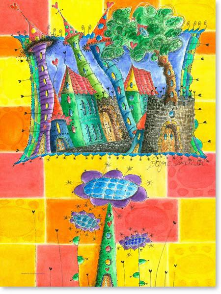 Aquarell Baumhaus - Wandbild Kinderzimmer