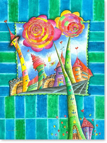 Aquarell Blumen Stadt - Wandbild Kinderzimmer