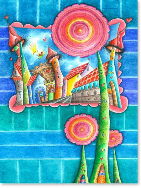 Aquarell Dreiblumenstadt-2 - Leinwandbild Kinderzimmer