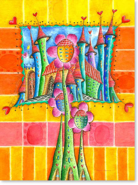Aquarell Dreiblumenstadt - Wandbild Kinderzimmer