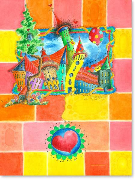 Aquarell Herzstadt - Wandbild Kinderzimmer