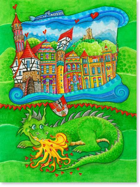 Aquarell Königswinter - Wandbild Kinderzimmer