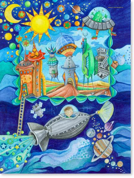 Aquarell Raumstation - Wandbild Kinderzimmer