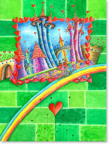 Aquarell Regenbogen Stadt - Leinwandbild Kinderzimmer