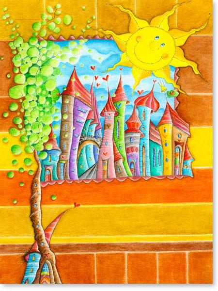 Aquarell Sonnenstadt - Wandbild Kinderzimmer
