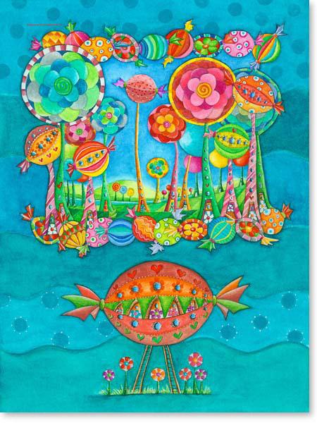 Aquarell Zuckerstadt - Wandbild Kinderzimmer