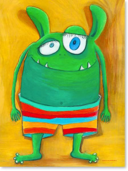 Pastellbild Herr Vonundzu - Leinwandbild Kinderzimmer