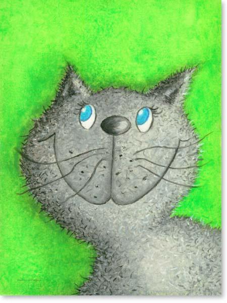Pastellbild Katze Lina- Leinwandbild Kinderzimmer