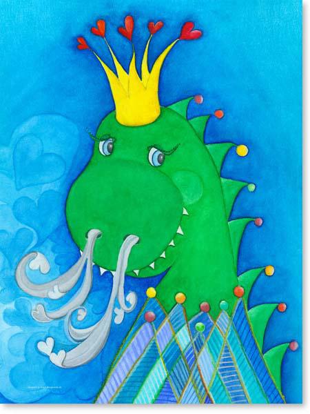 Pastellbild King Dino - Leinwandbild Kinderzimmer