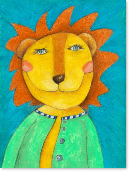 Pastellbild Löwe Liam - Leinwandbild Kinderzimmer