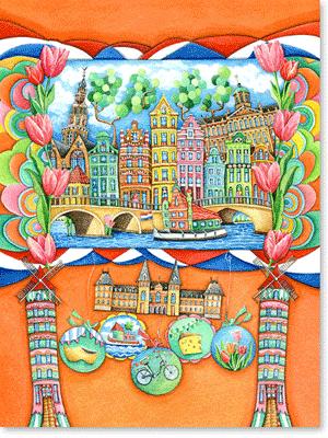 Aquarellbild - Amsterdam