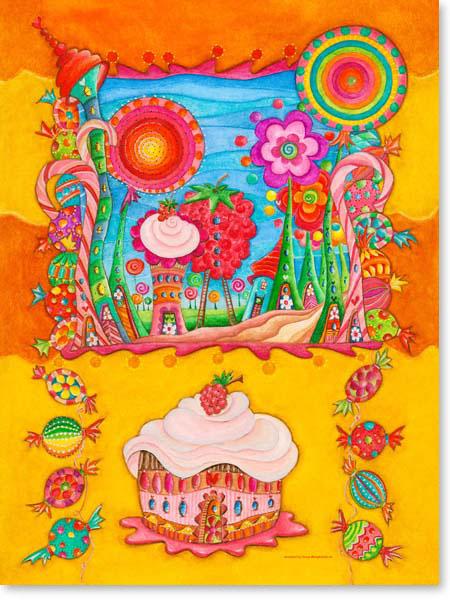 Aquarell Bonbon Stadt - Wandbild fürs Kinderzimmer